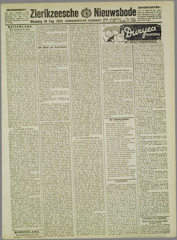 Zierikzeesche Nieuwsbode 1924-08-18