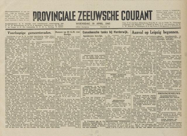 Provinciale Zeeuwse Courant 1945-04-18
