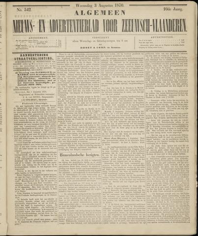 Ter Neuzensche Courant. Algemeen Nieuws- en Advertentieblad voor Zeeuwsch-Vlaanderen / Neuzensche Courant ... (idem) / (Algemeen) nieuws en advertentieblad voor Zeeuwsch-Vlaanderen 1870-08-03