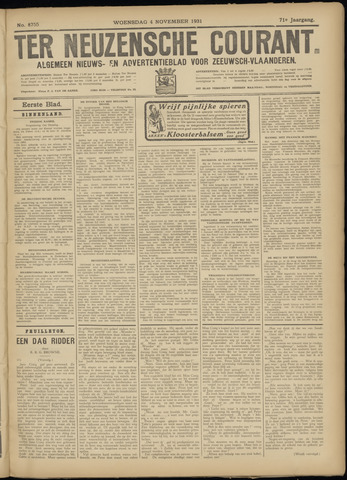 Ter Neuzensche Courant. Algemeen Nieuws- en Advertentieblad voor Zeeuwsch-Vlaanderen / Neuzensche Courant ... (idem) / (Algemeen) nieuws en advertentieblad voor Zeeuwsch-Vlaanderen 1931-11-04
