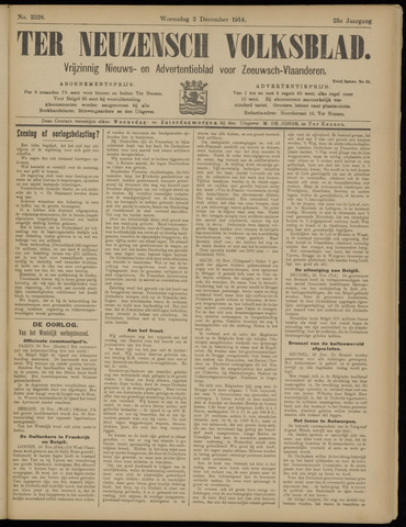 Ter Neuzensch Volksblad. Vrijzinnig nieuws- en advertentieblad voor Zeeuwsch- Vlaanderen / Zeeuwsch Nieuwsblad. Nieuws- en advertentieblad voor Zeeland 1914-12-02