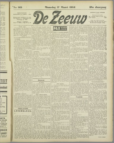De Zeeuw. Christelijk-historisch nieuwsblad voor Zeeland 1924-03-17