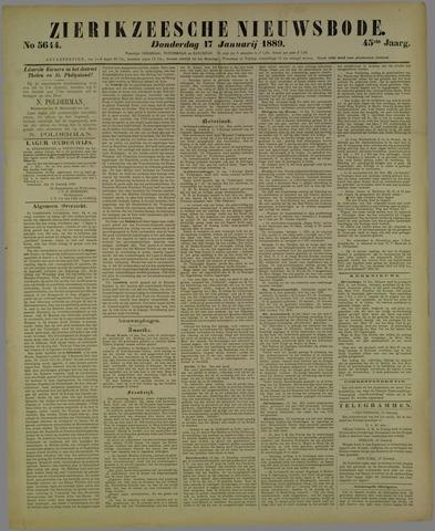 Zierikzeesche Nieuwsbode 1889-01-17