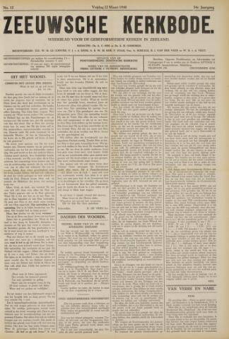 Zeeuwsche kerkbode, weekblad gewijd aan de belangen der gereformeerde kerken/ Zeeuwsch kerkblad 1940-03-22