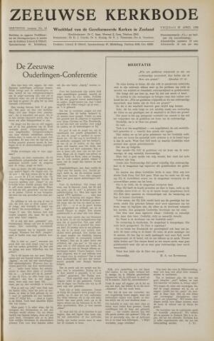 Zeeuwsche kerkbode, weekblad gewijd aan de belangen der gereformeerde kerken/ Zeeuwsch kerkblad 1958-04-25