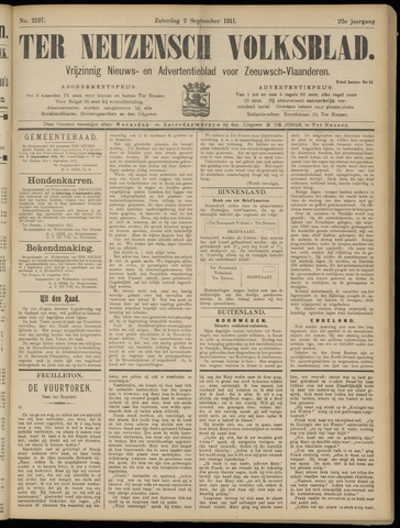 Ter Neuzensch Volksblad. Vrijzinnig nieuws- en advertentieblad voor Zeeuwsch- Vlaanderen / Zeeuwsch Nieuwsblad. Nieuws- en advertentieblad voor Zeeland 1911-09-02