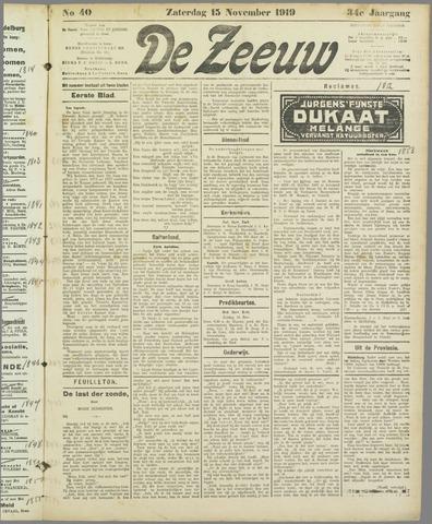 De Zeeuw. Christelijk-historisch nieuwsblad voor Zeeland 1919-11-15