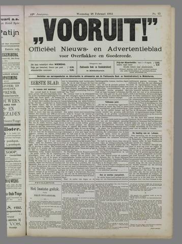 """""""Vooruit!""""Officieel Nieuws- en Advertentieblad voor Overflakkee en Goedereede 1912-02-28"""