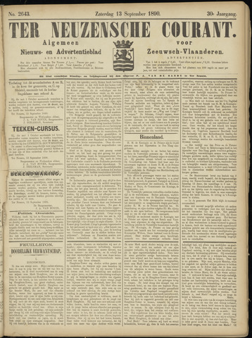 Ter Neuzensche Courant. Algemeen Nieuws- en Advertentieblad voor Zeeuwsch-Vlaanderen / Neuzensche Courant ... (idem) / (Algemeen) nieuws en advertentieblad voor Zeeuwsch-Vlaanderen 1890-09-13
