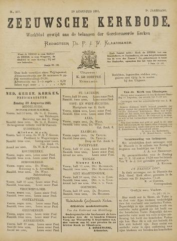 Zeeuwsche kerkbode, weekblad gewijd aan de belangen der gereformeerde kerken/ Zeeuwsch kerkblad 1891-08-29