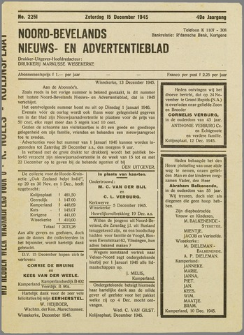 Noord-Bevelands Nieuws- en advertentieblad 1945-12-15