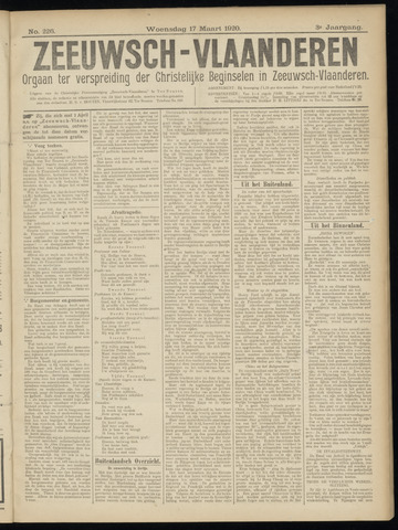 Luctor et Emergo. Antirevolutionair nieuws- en advertentieblad voor Zeeland / Zeeuwsch-Vlaanderen. Orgaan ter verspreiding van de christelijke beginselen in Zeeuwsch-Vlaanderen 1920-03-17
