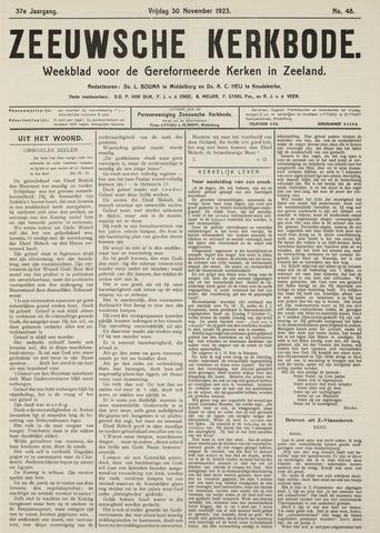 Zeeuwsche kerkbode, weekblad gewijd aan de belangen der gereformeerde kerken/ Zeeuwsch kerkblad 1923-11-30
