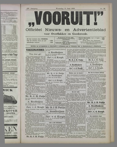 """""""Vooruit!""""Officieel Nieuws- en Advertentieblad voor Overflakkee en Goedereede 1913-06-11"""