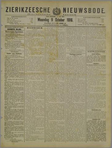 Zierikzeesche Nieuwsbode 1916-10-09