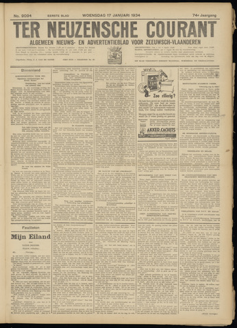 Ter Neuzensche Courant. Algemeen Nieuws- en Advertentieblad voor Zeeuwsch-Vlaanderen / Neuzensche Courant ... (idem) / (Algemeen) nieuws en advertentieblad voor Zeeuwsch-Vlaanderen 1934-01-17