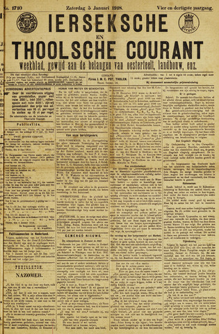 Ierseksche en Thoolsche Courant 1918-01-05