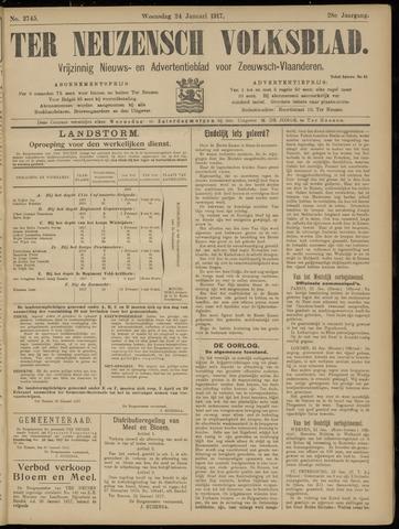 Ter Neuzensch Volksblad. Vrijzinnig nieuws- en advertentieblad voor Zeeuwsch- Vlaanderen / Zeeuwsch Nieuwsblad. Nieuws- en advertentieblad voor Zeeland 1917-01-24