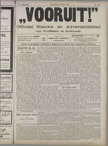 """""""Vooruit!""""Officieel Nieuws- en Advertentieblad voor Overflakkee en Goedereede 1911-05-31"""