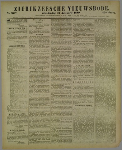 Zierikzeesche Nieuwsbode 1889-01-24