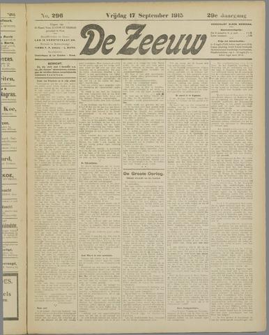 De Zeeuw. Christelijk-historisch nieuwsblad voor Zeeland 1915-09-17