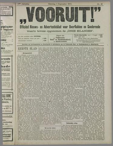 """""""Vooruit!""""Officieel Nieuws- en Advertentieblad voor Overflakkee en Goedereede 1917-09-01"""