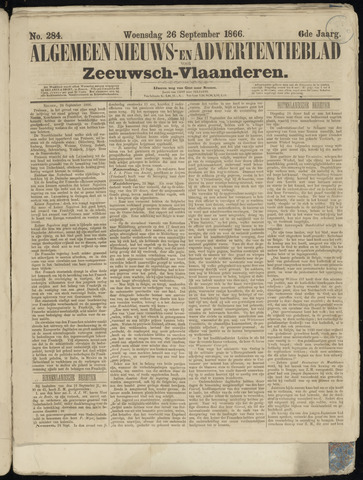 Ter Neuzensche Courant. Algemeen Nieuws- en Advertentieblad voor Zeeuwsch-Vlaanderen / Neuzensche Courant ... (idem) / (Algemeen) nieuws en advertentieblad voor Zeeuwsch-Vlaanderen 1866-09-26