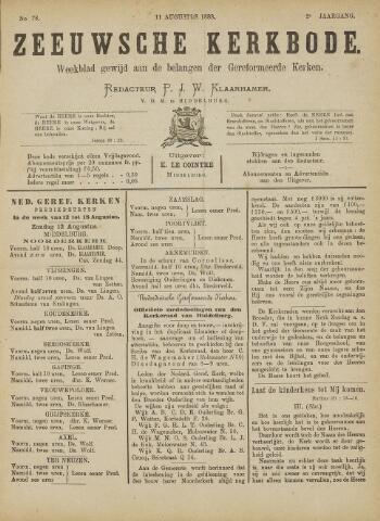 Zeeuwsche kerkbode, weekblad gewijd aan de belangen der gereformeerde kerken/ Zeeuwsch kerkblad 1888-08-11