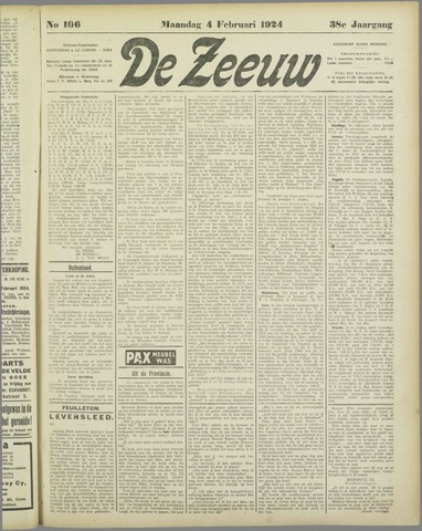 De Zeeuw. Christelijk-historisch nieuwsblad voor Zeeland 1924-02-04