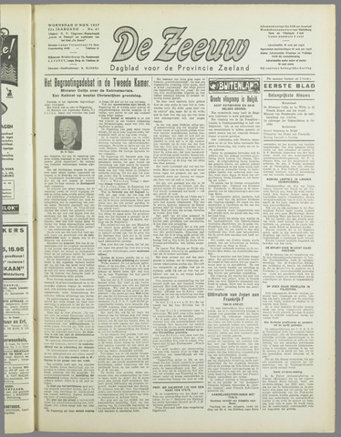 De Zeeuw. Christelijk-historisch nieuwsblad voor Zeeland 1937-11-17