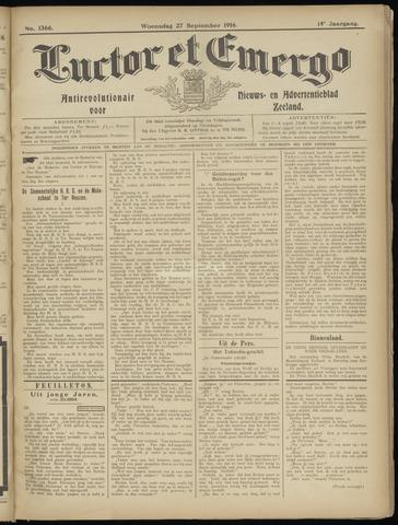 Luctor et Emergo. Antirevolutionair nieuws- en advertentieblad voor Zeeland / Zeeuwsch-Vlaanderen. Orgaan ter verspreiding van de christelijke beginselen in Zeeuwsch-Vlaanderen 1916-09-27