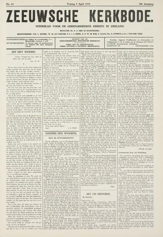 Zeeuwsche kerkbode, weekblad gewijd aan de belangen der gereformeerde kerken/ Zeeuwsch kerkblad 1935-04-05