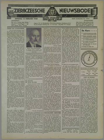 Zierikzeesche Nieuwsbode 1940-02-13