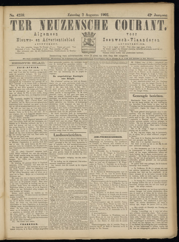 Ter Neuzensche Courant. Algemeen Nieuws- en Advertentieblad voor Zeeuwsch-Vlaanderen / Neuzensche Courant ... (idem) / (Algemeen) nieuws en advertentieblad voor Zeeuwsch-Vlaanderen 1902-08-02