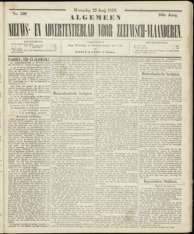 Ter Neuzensche Courant. Algemeen Nieuws- en Advertentieblad voor Zeeuwsch-Vlaanderen / Neuzensche Courant ... (idem) / (Algemeen) nieuws en advertentieblad voor Zeeuwsch-Vlaanderen 1870-06-22