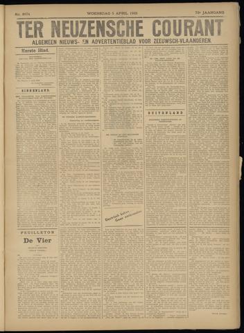 Ter Neuzensche Courant. Algemeen Nieuws- en Advertentieblad voor Zeeuwsch-Vlaanderen / Neuzensche Courant ... (idem) / (Algemeen) nieuws en advertentieblad voor Zeeuwsch-Vlaanderen 1933-04-05