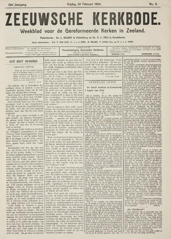 Zeeuwsche kerkbode, weekblad gewijd aan de belangen der gereformeerde kerken/ Zeeuwsch kerkblad 1924-02-29