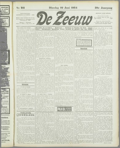 De Zeeuw. Christelijk-historisch nieuwsblad voor Zeeland 1924-06-10