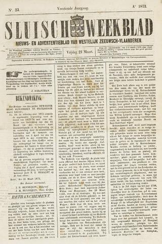 Sluisch Weekblad. Nieuws- en advertentieblad voor Westelijk Zeeuwsch-Vlaanderen 1873-03-21
