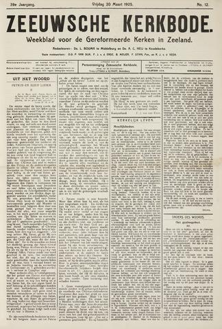 Zeeuwsche kerkbode, weekblad gewijd aan de belangen der gereformeerde kerken/ Zeeuwsch kerkblad 1925-03-20