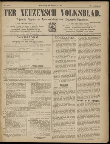 Ter Neuzensch Volksblad. Vrijzinnig nieuws- en advertentieblad voor Zeeuwsch- Vlaanderen / Zeeuwsch Nieuwsblad. Nieuws- en advertentieblad voor Zeeland 1917-02-14
