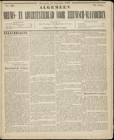 Ter Neuzensche Courant. Algemeen Nieuws- en Advertentieblad voor Zeeuwsch-Vlaanderen / Neuzensche Courant ... (idem) / (Algemeen) nieuws en advertentieblad voor Zeeuwsch-Vlaanderen 1869-09-15