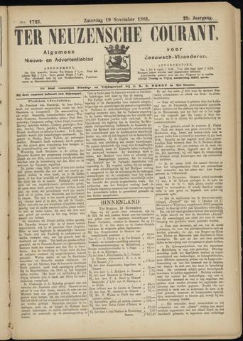 Ter Neuzensche Courant. Algemeen Nieuws- en Advertentieblad voor Zeeuwsch-Vlaanderen / Neuzensche Courant ... (idem) / (Algemeen) nieuws en advertentieblad voor Zeeuwsch-Vlaanderen 1881-11-19