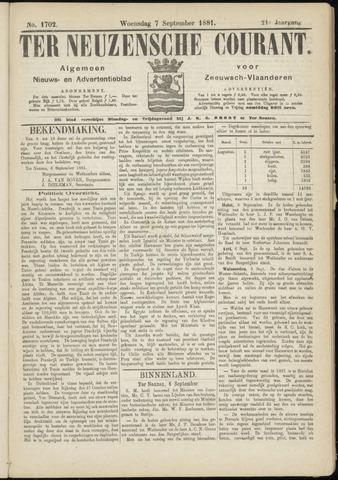Ter Neuzensche Courant. Algemeen Nieuws- en Advertentieblad voor Zeeuwsch-Vlaanderen / Neuzensche Courant ... (idem) / (Algemeen) nieuws en advertentieblad voor Zeeuwsch-Vlaanderen 1881-09-07