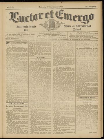 Luctor et Emergo. Antirevolutionair nieuws- en advertentieblad voor Zeeland / Zeeuwsch-Vlaanderen. Orgaan ter verspreiding van de christelijke beginselen in Zeeuwsch-Vlaanderen 1912-09-14