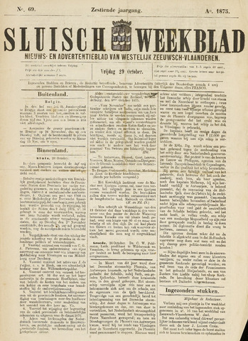 Sluisch Weekblad. Nieuws- en advertentieblad voor Westelijk Zeeuwsch-Vlaanderen 1875-10-29