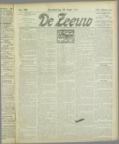 De Zeeuw. Christelijk-historisch nieuwsblad voor Zeeland 1919-06-12
