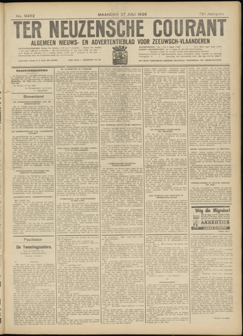 Ter Neuzensche Courant. Algemeen Nieuws- en Advertentieblad voor Zeeuwsch-Vlaanderen / Neuzensche Courant ... (idem) / (Algemeen) nieuws en advertentieblad voor Zeeuwsch-Vlaanderen 1936-07-27