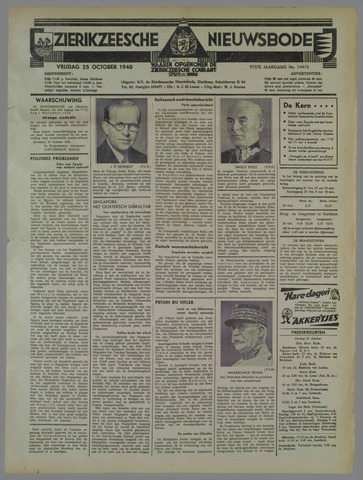 Zierikzeesche Nieuwsbode 1940-10-25
