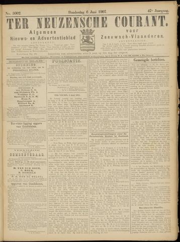 Ter Neuzensche Courant. Algemeen Nieuws- en Advertentieblad voor Zeeuwsch-Vlaanderen / Neuzensche Courant ... (idem) / (Algemeen) nieuws en advertentieblad voor Zeeuwsch-Vlaanderen 1907-06-06